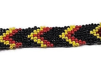 woven herringbone Cuff Bracelet seed beads 3 colors