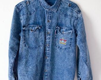 VINTAGE Lavish Jeans Blue Denim Shirt - Size M