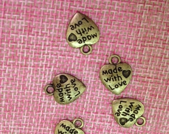 5 handmade with love heart charms