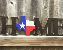 Home-Texas Home-Rustic Decor-Door Hanger-Wood Sign
