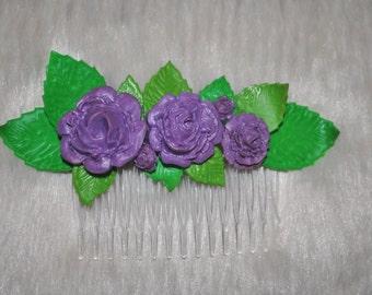 Purple Rose Hair Comb