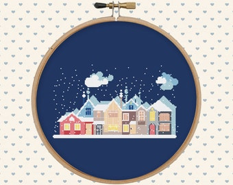 Snowy christmas houses cross stitch pattern - holiday cross stitch - cross stitch pattern - pattern pdf - xmas, christmas gift