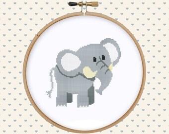 Cute elephant cross stitch pattern pdf - instant download - cute animal pattern - easy cross stitch pattern