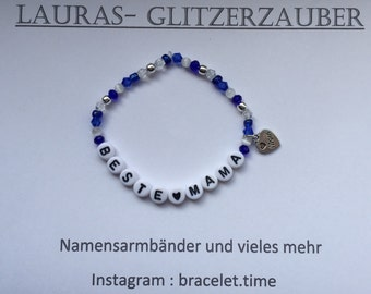 Customizable name bracelet blue best MOM