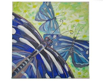 Oil painting butterfly Painting on canvas blue butterfly on a field Butterfly painted oil Butterfly on canvas Abstract painting butterfly