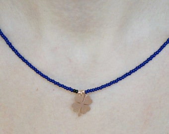 Necklaces-four leaf clover necklace-shamrock necklace-rose gold-navy natural stone-beaded necklace-925 silver -mother's day