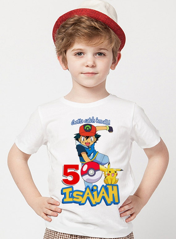 d8458666d Customized Pokemon Birthday Shirt Add Name & Age Pokemon GO! Custom  Birthday Party Tee 01. All items are printed on a white, 100% cotton t-shirt .