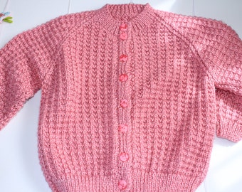 Dusty Rose Hand-knitted Lattice Patterned Cardigan