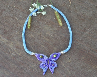 butterfly  polymer clay.Seed Bead Crochet Necklace.Versatile Jewelry.Blue Rope Jewelry.Lariat knitted beaded.