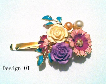 1 pc Enamel Hair Pin Hairpin in Rose and Sunflower Sun Flower Design with Touchings of Pearls
