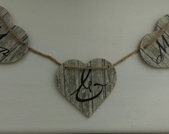 Wedding bunting, Wedding gift, Gift for him, Gift for her, Rustic hearts, Shabby chic, Hanging hearts, Personalised gift,