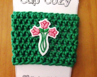Handmade Cup Cozy for Coffee, Soda Cans, Mason Jars - Tulips Cross Embroidered Feltie - God, Christ, Religion, VBS, Church