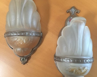 4 Matching Art Deco Slip Shade Sconces