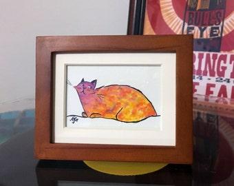 Sunset Kitty Original Illustration - Includes Frame