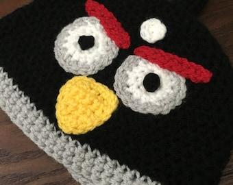 Crochet angry birds hat, angry birds crochet hat, crochet black angry bird, crochet kids angry bird, angry birds hat, crochet angry bird