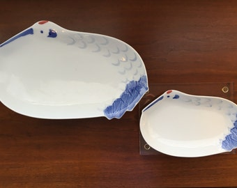 Japanese Crane or Heron Platters, Serving Plates, or Jewelry Trays set of 2