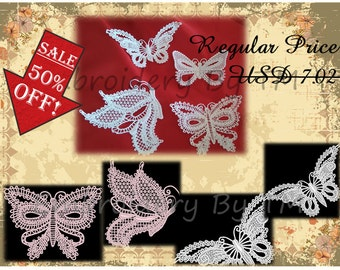 A set of butterflies-embroidery lace machine