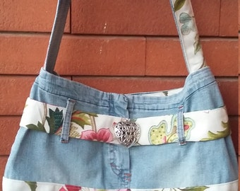 jeans bag and cotton in floral design