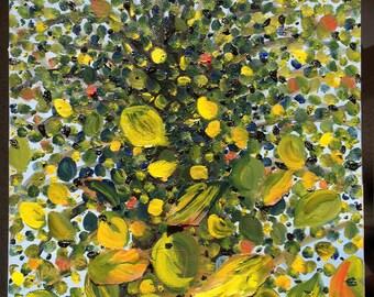 Falling - Green. Original Oil Painting
