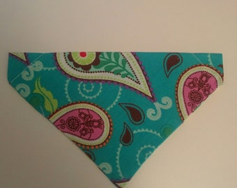Turquoise paisley-print Doggie bandana