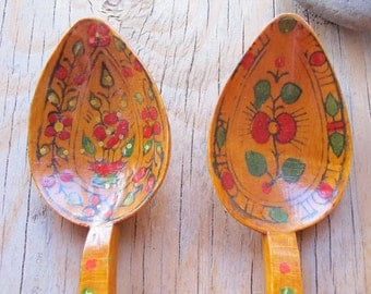 2 Mediterranean Natural Wooden Spoons Handpainted with Gloss Finish
