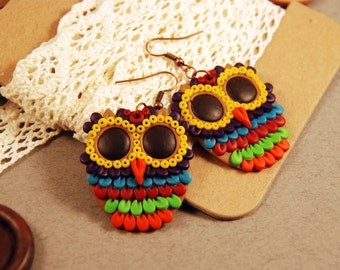 Owl earrings colorful earrings owl jewelry bird earrings dangle earrings fimo earrings polymer clay gift for her boho earrings Boho chic