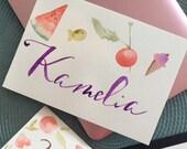 Custom design watercolour name cards for kids