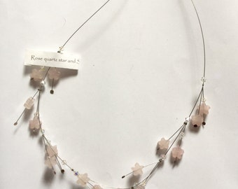 Unusual Spikey Necklace of Rose Quartz and Swarovski Crystal