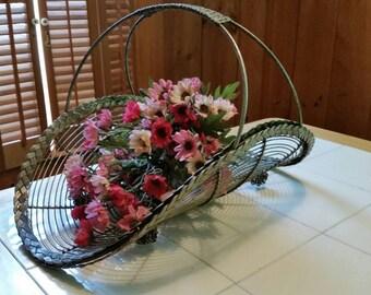 Unique vintage handmade wire basket centerpiece/ magazine basket / fruit basket
