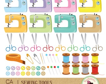 Sewing Tools Clipart - Instant Download