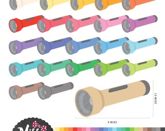 26 Colors Torch Lights Clipart - Instant Download
