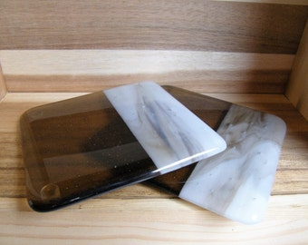 Pair of Brown Fused Glass Coasters