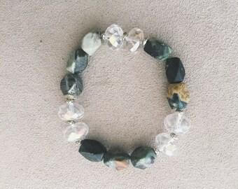 Jasper & Faceted Glass Stretch Bracelet