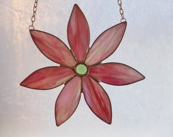 Stained glass Daisy sun catcher, irridescent pink with hints of green and white..amazing!