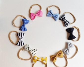Mini Bow Tie Headband, Baby Headband, Christmas Hair Bow, Fabric Bow Hair Clip, Toddler Hair Clip, Nylon Headband, Baby Shower Gift