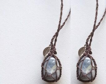 Blue Calcite Hemp Necklace