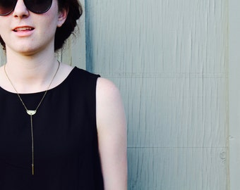 The Tyrah // Contemporary Lariat Brass Semi Circle Necklace