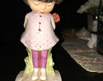 Moppets 1971 Fran Mar ~ girl figurine with flower