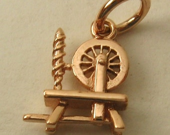 Genuine SOLID 9K 9ct ROSE GOLD 3D Antique Spinning Wheel Sewing charm/pendant