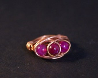 Copper wire wrapped purple banded agate ring