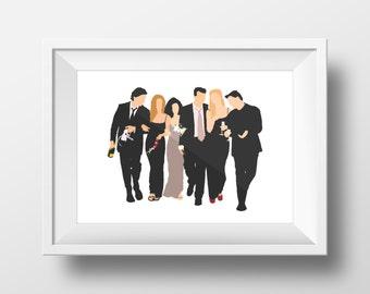 Wall Art Print  FRIENDS tv show,printable art,friends theme ,monica,chandler, ross,phoebe, rachel,joey,central perk,friends poster