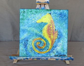 Seahorse Acrylic Painting on Canvas