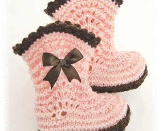 Booties for baby girl. Baby socks. Knit baby booties.Made to order