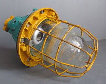 Vintage industrial caged pendant light