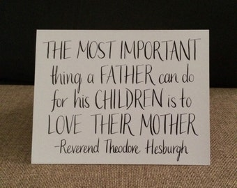 Father's Day Card - Love Their Mother Quotation - Handmade Card for a Loving Dad