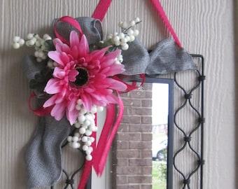 Wrought Iron Mirror Hot Pink Flower Burlap Ribbon