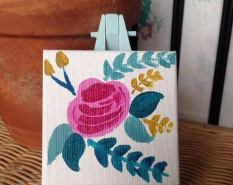 Floral Mini-Canvas and Easel Set in Blue