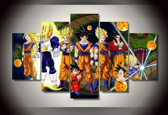5 piece multi panel dragon ball z super saiyan by for Cadre multi photos mural