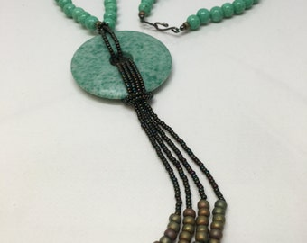 Lilly; Handmade One of a Kind Beaded Necklace, Metaphysical Healing jewelry