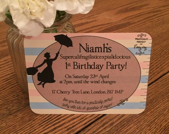 Mary Poppins Children's Birthday Party Invitations